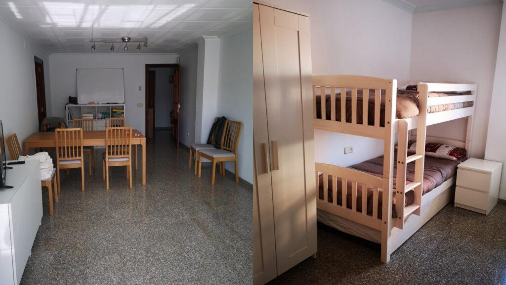 la sala d'estar i una de les habitacions del pis per a dones que han patit violència masclista
